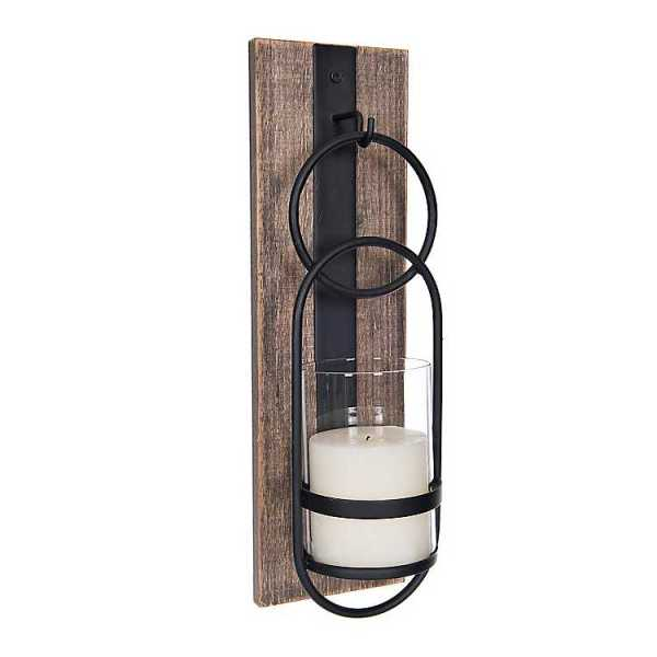Wall Sconces - Wood and Black Metal Geometric Sconce