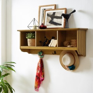 Natural Brown Storage Wall Shelf with Hooks