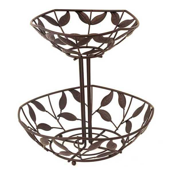 Fruit Bowls & Baskets - Bronze 2-Tier Leaf Fruit Basket