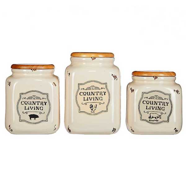 Kitchen Canisters - Country Living 3-pc. Canister Set