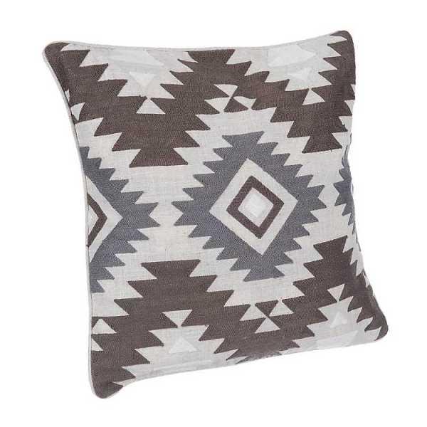 Throw Pillows - Embroidered Aztec Linen Pillow