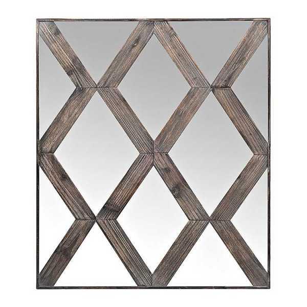 Wall Mirrors - Diamond Wood Pane Overlay Wall Mirror