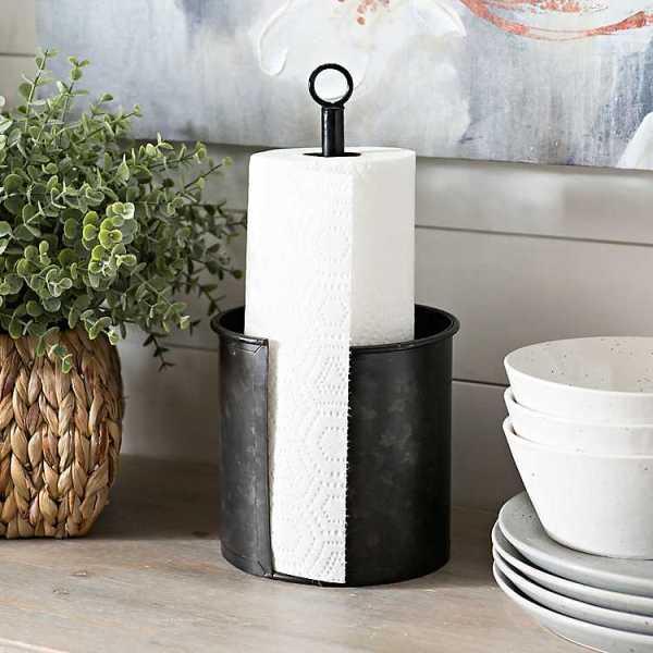 Kitchen Accessories - Black Galvanized Paper Towel Holder