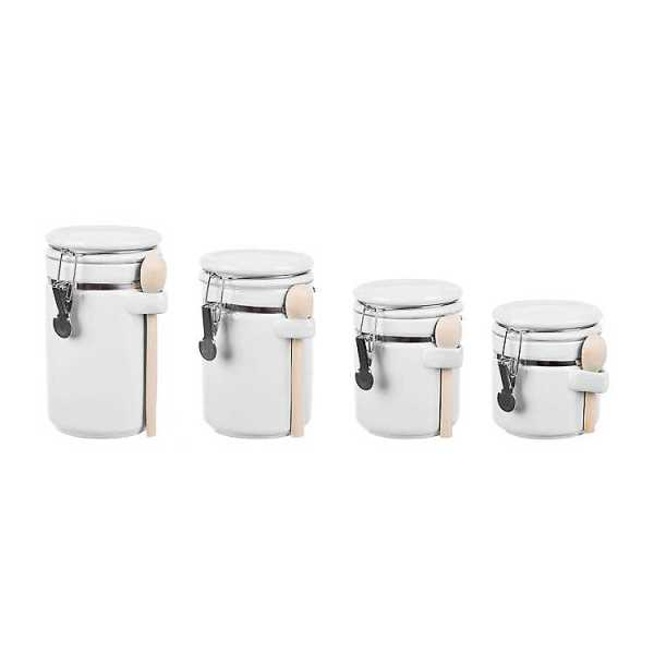 Kitchen Canisters - White Ceramic Canisters with Wood Spoons