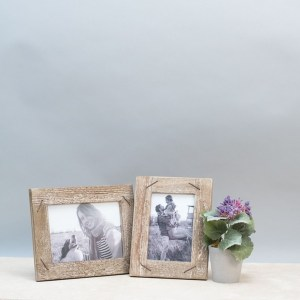 Picture Frames - Weathered Wood Picture Frame with Staples, 5x7