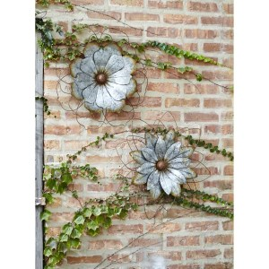 Galvanized Flower Wall Sculptures Set Of 2 Mocome Decor