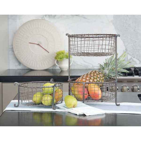 Fruit Bowls & Baskets - Double Wire Basket Stand