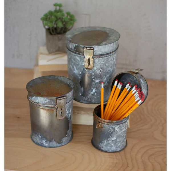 Baskets & Boxes - Rustic Metal Round Boxes with Lids