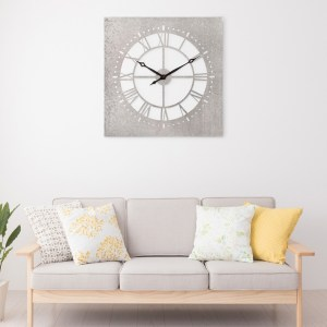 Square Galvanized Metal Cut Out Large Wall Clock