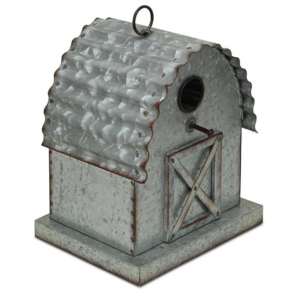 Garden Decor - Metal Barn Hanging Birdhouse