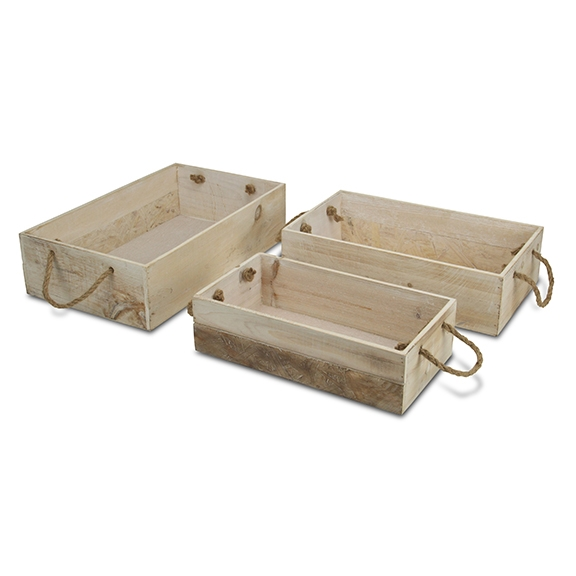 Decorative Trays - Two-Tone Wooden Trays with Rope Handles