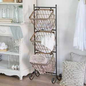 Baskets & Boxes - 3-Tier Metal Wire Basket Tower