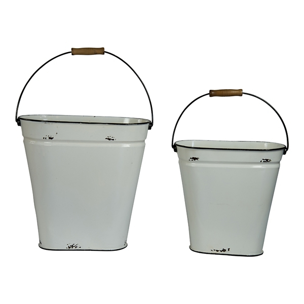 Planters - White Metal Buckets with Top Handles, Set of 2