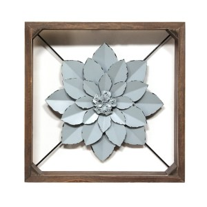 Blue Flower Metal Framed Wall Art Decor