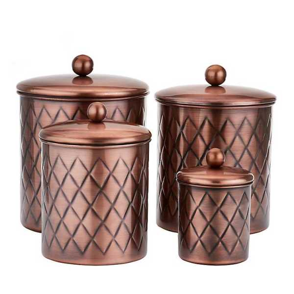 Kitchen Canisters - Antique Copper Embossed Diamond 4-Pc. Canister Set