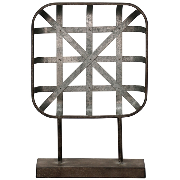 Statues & Figurines - Galvanized Metal Woven Basket Statue on Stand