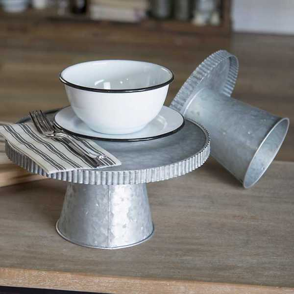 Serving Trays - Silver Metal Risers