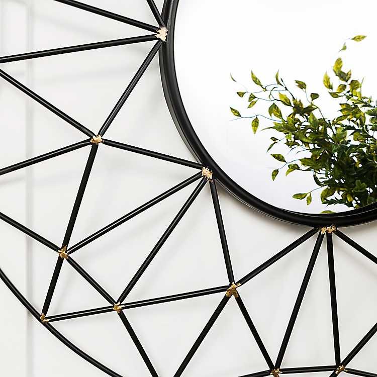 Wall Mirrors Rachel Black Round Metal Modern Mirror Mocome Decor