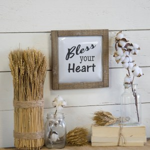 Bless your Heart Metal with Wood Frame Wall Art