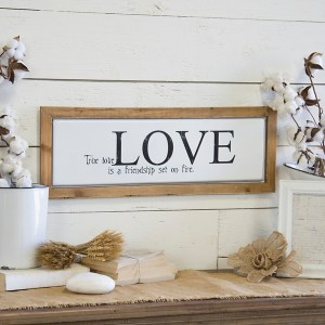 True Love Metal with Wood Frame Wall Décor
