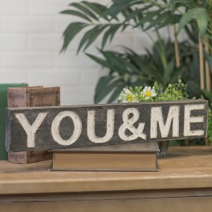 You and Me Wood Plank Word Block Decorative