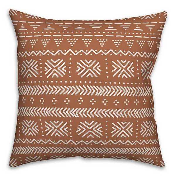 Throw Pillows - White and Orange Geometric Print Pillow