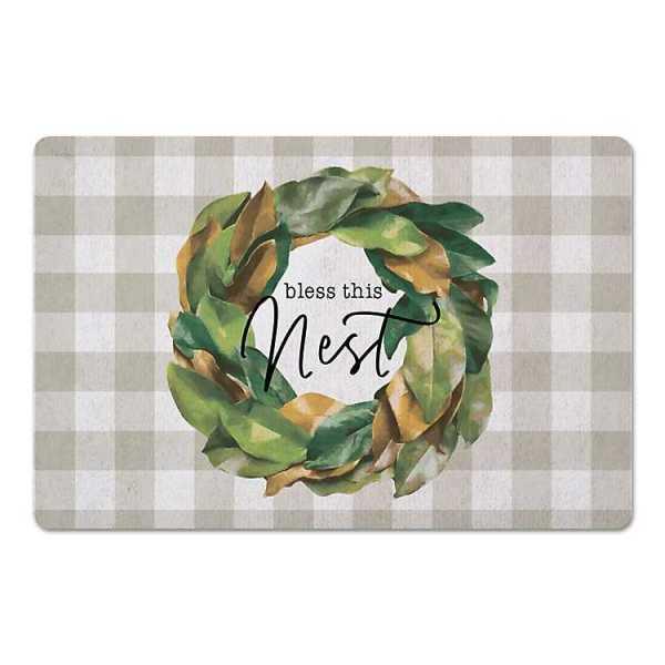Kitchen Mats - Tan Bless This Nest Buffalo Check Kitchen Mat