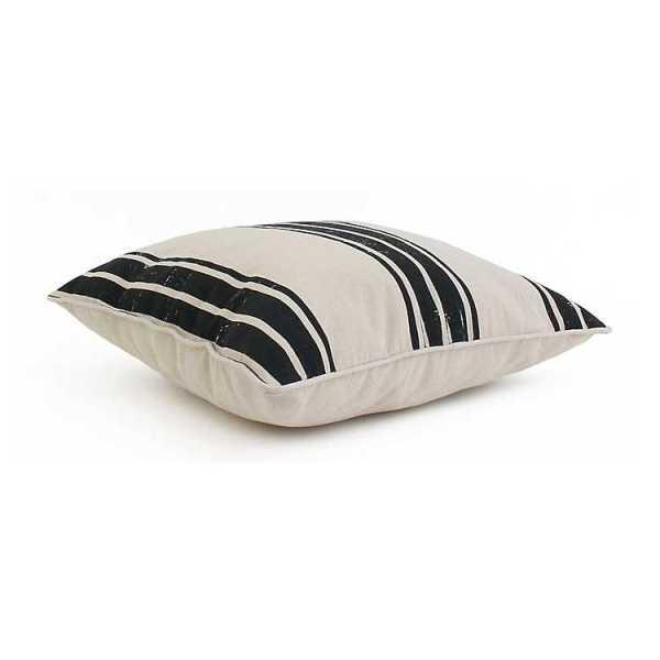 Throw Pillows - Natural with Jet Black Stripe Pillow