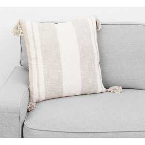 Throw Pillows - Tan Farmhouse Stripe with Tassels Pillow