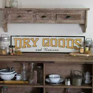 Dry Goods and Notions White Metal Wall Art