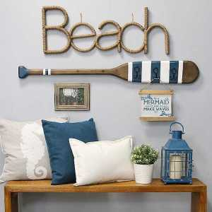 Rope Wrapped Beach Sign Wall Art