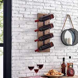 Rustic Wood and Metal Cooper Wall Wine Rack