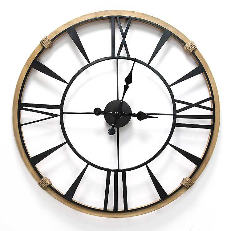 Large Wood And Metal Wall Clock Paulbabbitt Com
