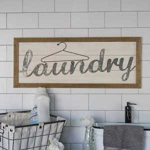 Wooden Frame and Galvanized Metal Laundry Wall Decor