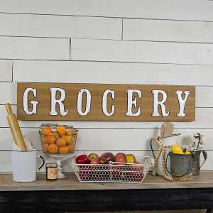 wooden grocery metal letters sign wall art