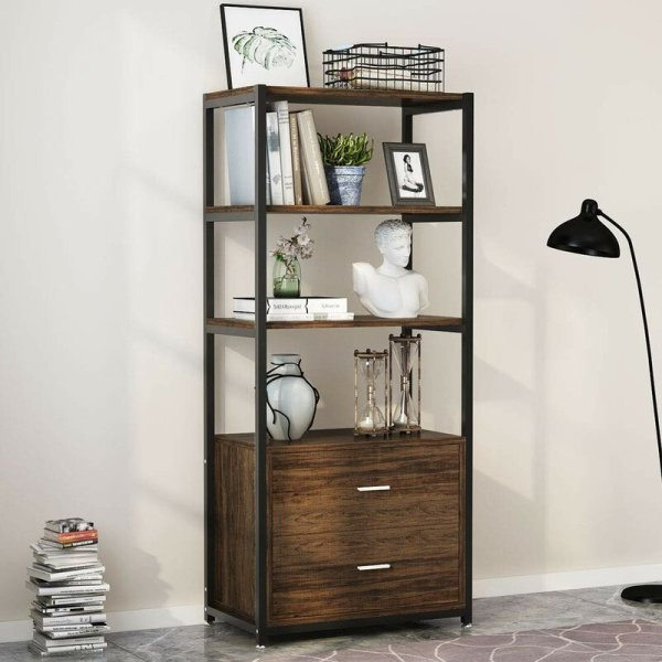 jill-3-tier-open-shelf-and-2-large-drawers-standard-bookcase