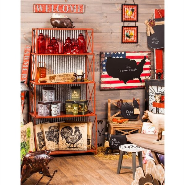 margarita-red-distressed-bookcase-with-galvanized-corrugated-metal-back
