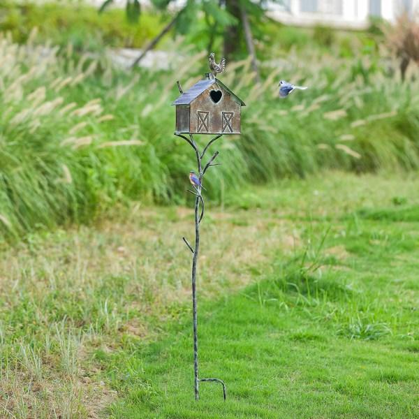 Rustic Farmhouse Barn Design Birdhouse Garden Stakes 55 Inch Real Shot 2