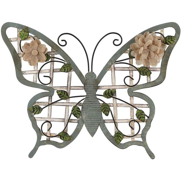 Large Blue Antique Metal Butterfly Wall Art Decor