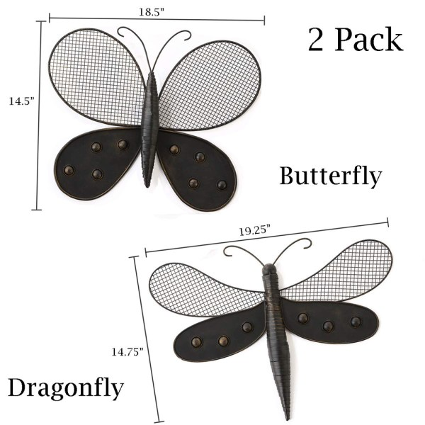 Butterfly Wall Decor and Dragonfly Wall Decor Dimensional Drawings