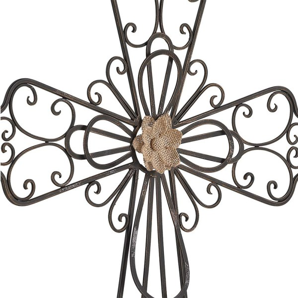 Large Rustic Metal Flower Type Cross Wall Decor Partial details 2