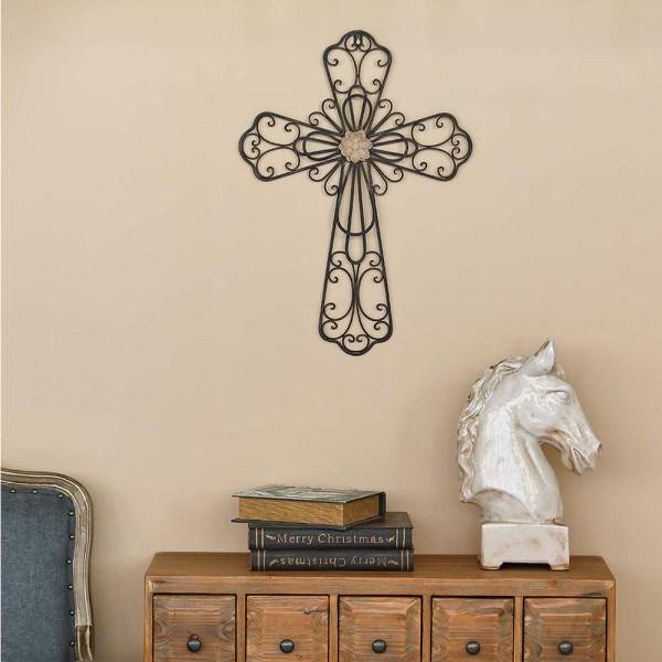 Large Rustic Metal Flower Type Cross Wall Decor Real Shot 1