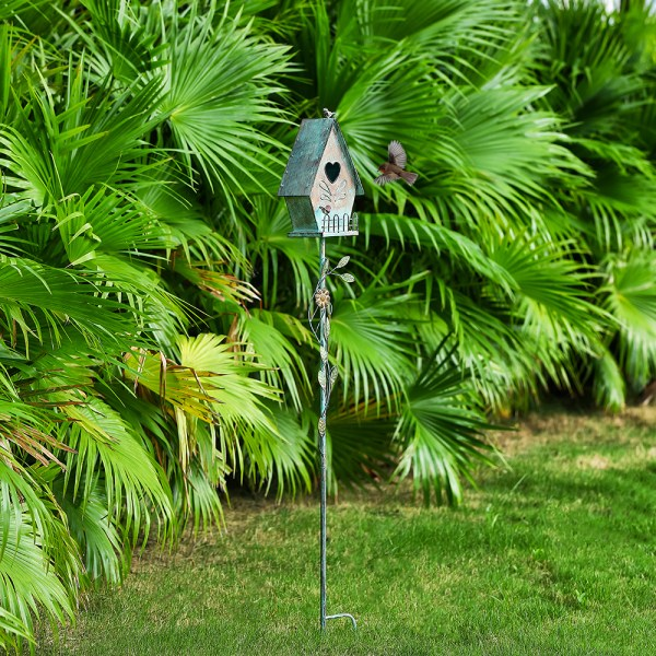 Tall Distressed A-Style Birdhouse Garden Stakes 57 Inch Real Shot 1