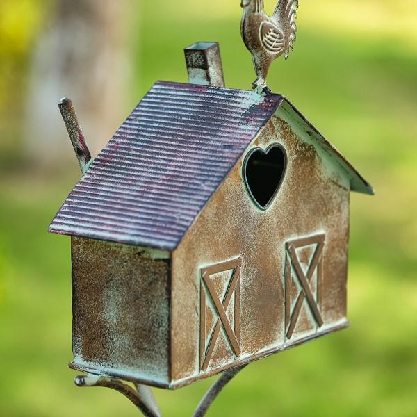 Rustic Farmhouse Barn Design Birdhouse Garden Stakes 55 Inch Real Shot