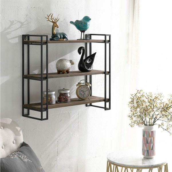 3 Tier Wooden Wall Mounted Bookshelves Real shot