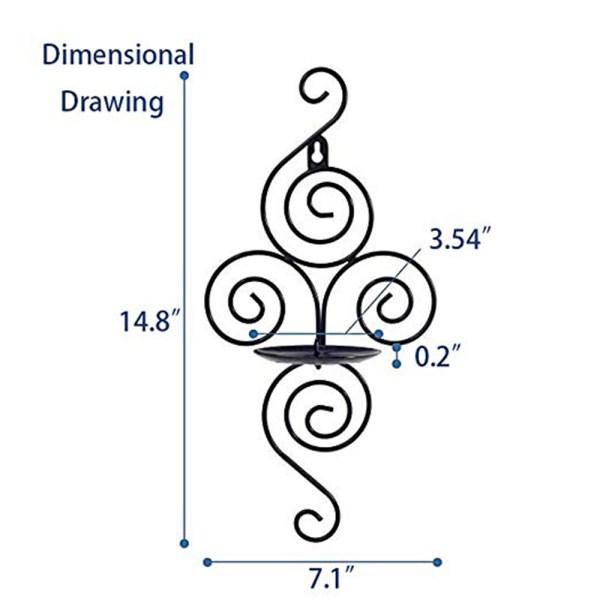 Elegant Black Metal Flower Candle Holders Dimensional Drawings