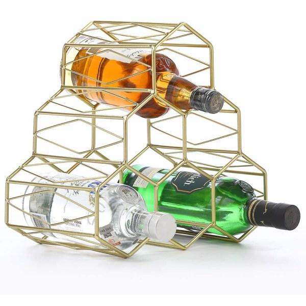 Golden Countertop Lattice Wine Rack