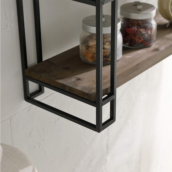 3 Tier Wooden Wall Mounted Bookshelves Partial details 1