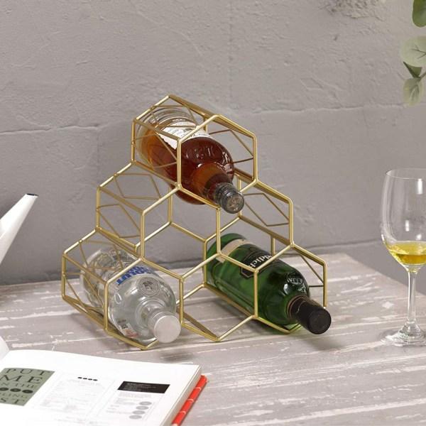 Golden Countertop Lattice Wine Rack Real shot