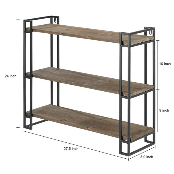 3 Tier Wooden Wall Mounted Bookshelves Dimensional Drawings